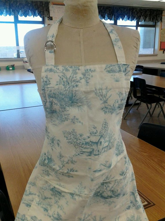 Toile Blue And White Vintage-look Apron
