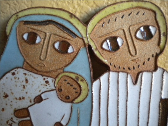 Mary, Joseph, And Jesus. Handmade Pottery (Earthenware clay) Wall Hanging.