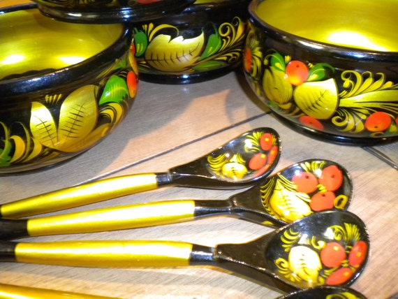 Khokhloma Russian Folk Art Handpainted Bowls And Spoons Set Of 8