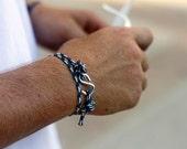 Blue White Green Glow in the Dark Wrap Bracelet Silver S hook