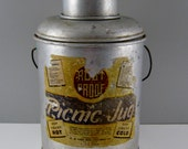 Picnic Jug: Picnic Cooler, Vintage Thermos, Metal Aluminum Rust Proof with Glass Insert and Atlas Lid