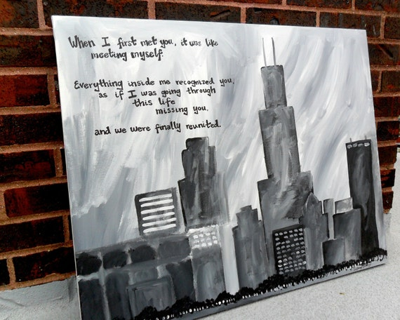 Love in Chicago- Cityscape original black and white painting, canvas, quote, 24x30, skyline