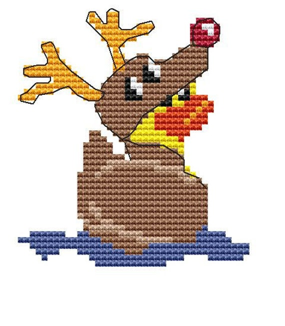 Cross Stitch Kit 'Duck in a Reindeer suit' Christmas Cross Stitch