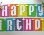Happy Birthday Party Banner in Bright Rainbow Colors for Rainbow or Candyland Party