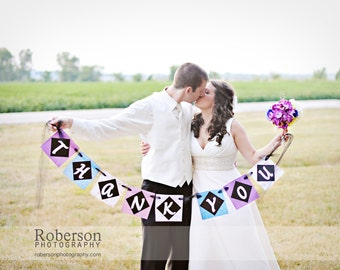 CHOOSE YOUR COLORS Custom Thank You Banner for Wedding Day Photos of Bride and Groom / Thank You Photos / Thank You Cards
