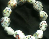 White Speckled Rock Bracelet...Glass Beads