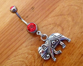 Belly button ring - Silver Elephant Belly Button Ring