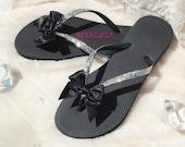 Ultra Glamorous Rhinestone Sandals with Black Satin Bows