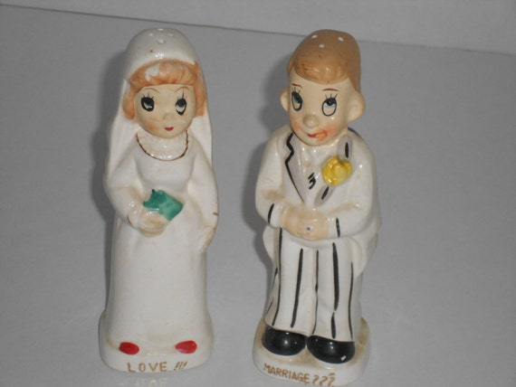 Bride And Groom Vintage Salt and Pepper Shakers