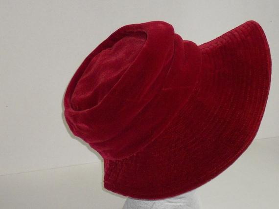 Vintage Union Made Maroon Red Velvet Hat