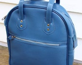 Mad Men Blue Vintage Faux Leather Luggae Carry On Tote