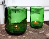 Pair of Vintage Wine Bottles - Re-purposed Candle Holders - Green Glass - Perfect for Outdoor Decor