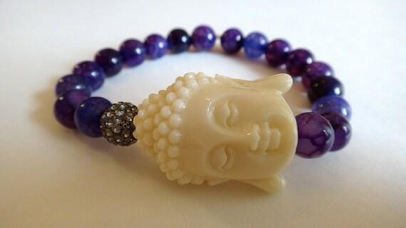 Purple Beaded Bracelet with White Buddha and Grey Crystal Bead