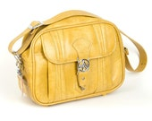 70s Vintage Luggage Bag Tote Yellow Mustard Leather