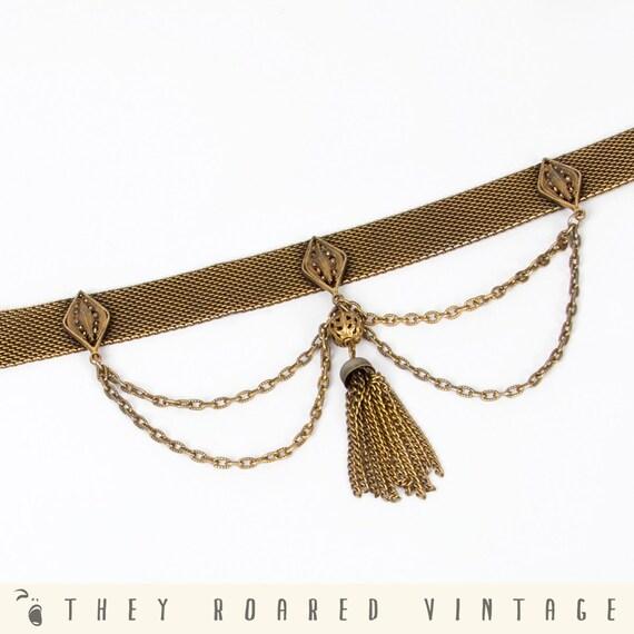 60s Vintage Choker Necklace Mesh Chain Collar Gold Tone Tassel Antique