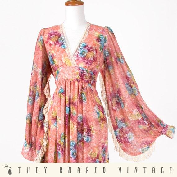 60s Maxi Dress Pink Angel Sleeve Vintage Floral Print Hippie Medium