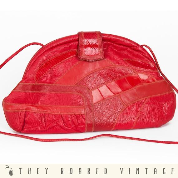 70s Vintage Bag Leather Purse Red Animal Skin Skinny Strap