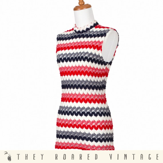 80s Red White Blue Vintage Top Shirt Sweater Mod Stripes Small Medium Large