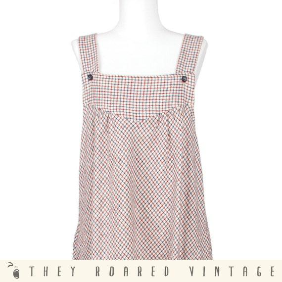 70s Vintage Dress Maxi Dress Plaid Pattern Large XLarge