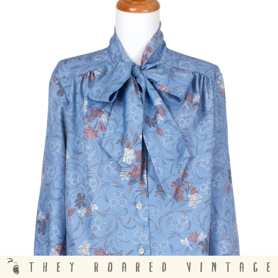 70s Vintage Secretary Blouse Floral Print Blue Pussycat Bow Long Sleeve Large