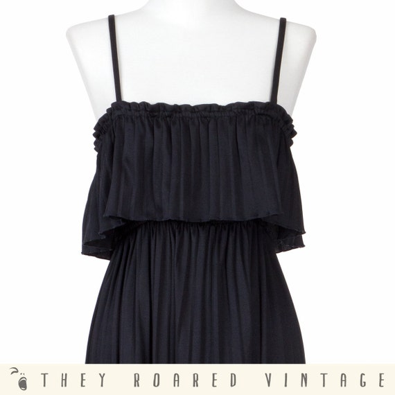 70s Vintage Dress Black Dress Spanish Sundress RuffleMedium Large