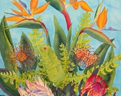 Birds of Paradise and Proteas Watercolor Painting, Hawaiian Tropical Exotic Flowers Fine Art Print
