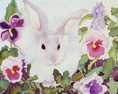 Bunny with Purple and Pink Pansies in Garden Painting, Rabbit and Flowers Watercolor Giclee Print