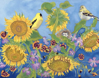 Goldfinches with Sunflowers Watercolor Painting, Yellow Birds with Golden Summer Flower Fields Fine Art Print