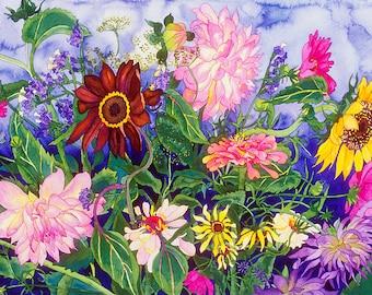 Dahlias and Sunflowers in Summer Garden Watercolor Painting, Full Bloom Summer Garden Fine Art Print