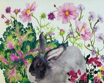 Rabbit with Kale Watercolor Painting, Bunny Eating Vegetables and Garden Flowers Fine Art Print
