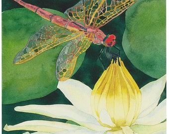 Dragonfly with Lotus Flower Watercolor Painting, Green Nature Water Lily Pond Fine Art Print