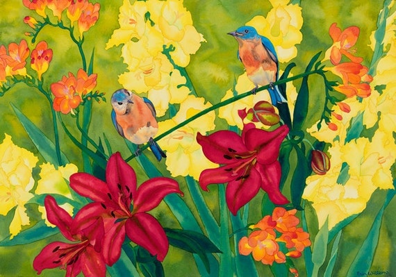 Bluebirds with Red Lilies Orange Freesia and Yellow Gladiolus Watercolor Painting, Birds and Blooms Fine Art Print