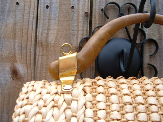 Italian Rope Straw Handbag, Large Vintage Purse, Natural Fiber Tote