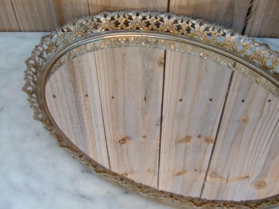 Mid Century Vanity Tray, Vintage Mirror Tray, Mirror Display Tray, Vanity Mirror