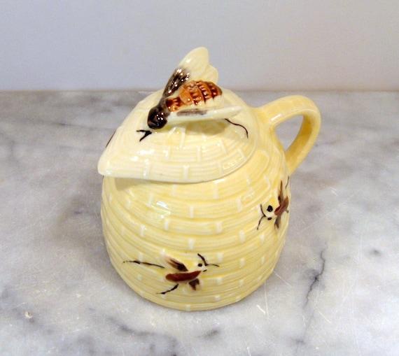 Vintage Honey Pot, Honey Server, Honey Jar, Honey Bee Design on Honeycomb Serving Jar with Lid