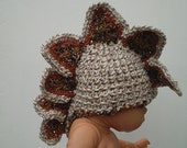 Dragon Baby Hat  Brown/White Tweed Unisex