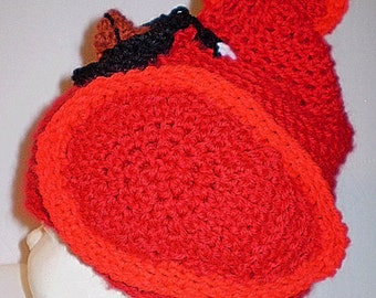 Red Cardinal Hat Crochet Toddler 1 1/2 years plus