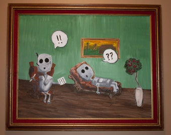 Original Oil Painting -Robot Psychiatrist- Doctors Office