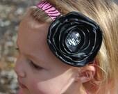 Hot pink Zebra print headband and black satin fabric flower