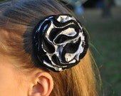 Beautiful black and white lace flower clip baby-adult