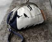 Denim Birds Clutch purse in organic screen printed cotton and denim.