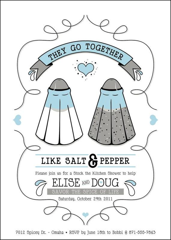 Custom Kitchen Wedding Shower Invitation - Like Salt & Pepper
