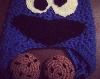 Cookie Monster Hat (Cookies included) -Made to Order-
