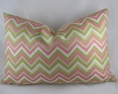 Decorative Pillow Cushion Cover - Accent Pillow - Throw Pillow - Duralee Blossom - Chevron - Zigzag - pink, khaki, green