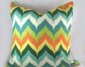 Teal Orange Chevron - Decorative Pillow Cushion Covers - Accent Pillow - Throw Pillow  - Indoor Outdoor