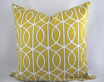 Dwell - Gate Citrine,Trellis, Mustard, Yellow white - Decorative Pillow Cushion Covers - Accent Pillow - Throw Pillow