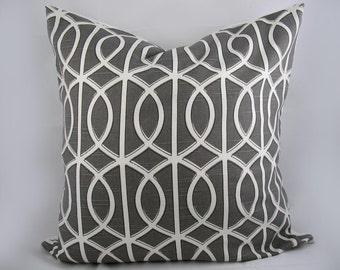 Dwell - Robert Allen - Decorative Pillow Cushion Cover - Accent Pillow - Throw Pillow - Gate Charcoal, Trellis, Grey White