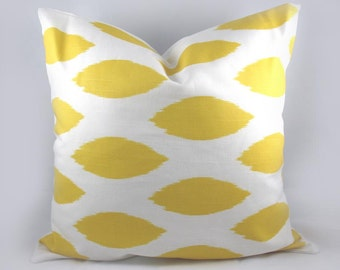 Decorative Pillow Cushion Cover - Accent Pillow - Throw Pillow - Ikat Yellow