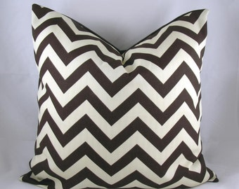 Decorative Pillow Cushion Cover - Accent Pillow - Throw Pillow - ZigZag Chevron Chocolate, Brown