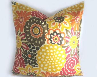 Decorative Pillow Cushion Cover - Accent  Throw Pillow - Waverly - Button Blooms Harvest, Fretwork, Orange, Yellow, Red, Brown - Fall colors